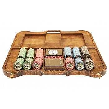 Набор для покера nevada jack на 300 фишек в резном кейсе