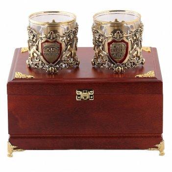 Бокалы для виски  настоящий мужчина + юбилей 50 лет  в деревянной шкатулке