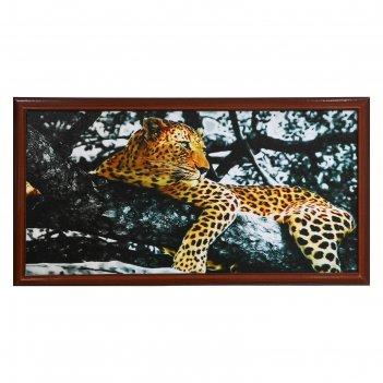 Картина леопард на дереве, рама микс