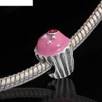 Бусина кейк, цвет розовый в черненом серебре