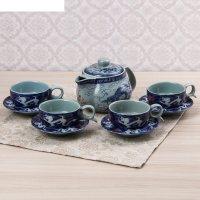 Набор чайный синий узор, 9 предметов: чайник 280 мл, кружка 6,5 см, 50 мл,