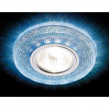 Светильник встраиваемый светодиодный, g5.3, 3вт, цвет голубой, d=65 мм