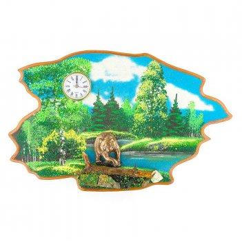 Часы с картиной медведь лето 50х32 см