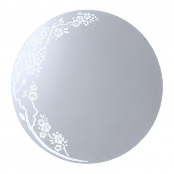 Зеркало «сакура», с пескоструйной графикой, настенное, 60x60 см