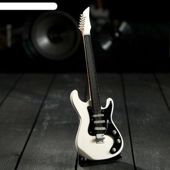 Гитара сувенирная ibanez бело-чёрная, на подставке 24х8х2 см