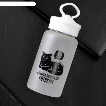 Бутылка для воды бутылка охраняется котиком, 550 мл
