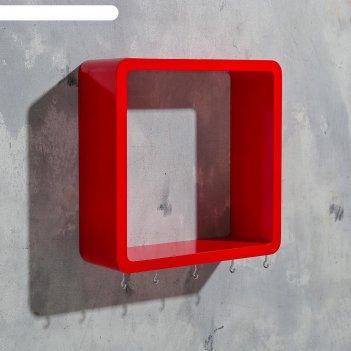 Ключница-полка квадрат 5 крючков, красная, 27х27см