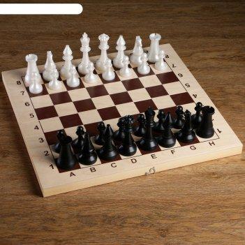 Фигуры шахматные обиходные пластиковые (король h=10.5 см, пешка h=5 см)