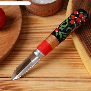 Овощечистка с деревянной ручкой экономка, художественная роспись