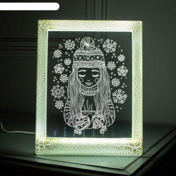 Рамка светящаяся, девочка 13,5 х 17 см, usb, 5v , 10 led, белый