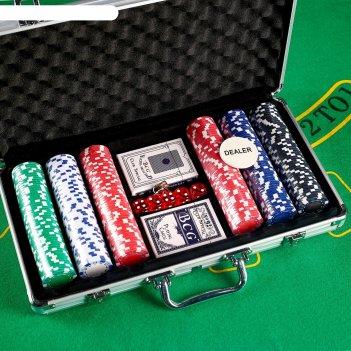 Игра набор для покера: 300 фишек без номинала (11 гр), 2 колоды карт х 54