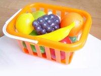 Набор фрукты и овощи в корзине (виноград,лимон,апельсин,банан,груша,яблоко