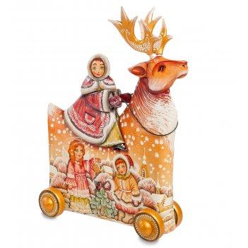 Фигурка резная девочка на олене художественная роспись