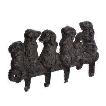 Вешалка «щенята», 21 x 10,5 x 2 см, чугун