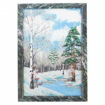 Картина зимний пейзаж вертикальная рамка змеевик №3 (20х30 см)