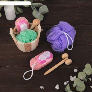 Набор банный в деревянном ушате 3 предмета: мочалка-бант, пемза-щетка, мас