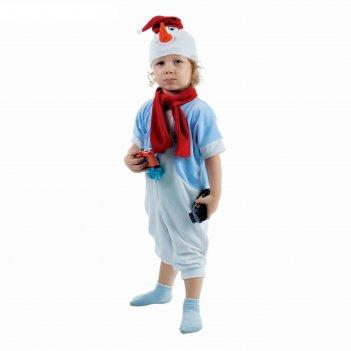 Карнавальный костюм снеговик в голубом жилете комбинезон, шарф, шапка рост
