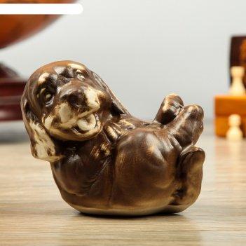Фигура садовая собака на спине, шамот