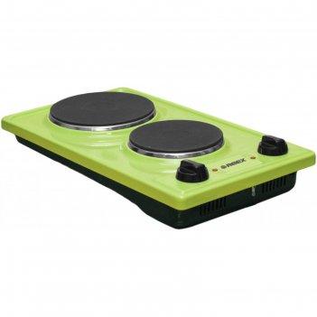 Плита reex cte- 32d gn, 2200 вт, электрическая, 2 конфорки, зелёная