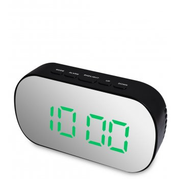 Ял-07-25/4 часы электронные зеркальные (черный с зелёным циферблатом)