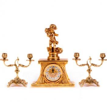 Часы настольные лето с канделябрами на 2 свечи, набор из 3 предм.