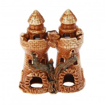 Аквадекор-грот для аквариума замок двойной коричневый 9х17х21см