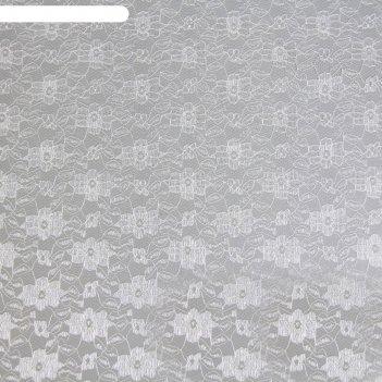 Полотно кружевное, гипюр, ширина 150 см, цвет белый