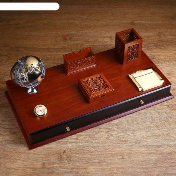 Набор настольный 7в1 (блок для бумаг-2шт,часы, подстав. д/визитниц,каранда