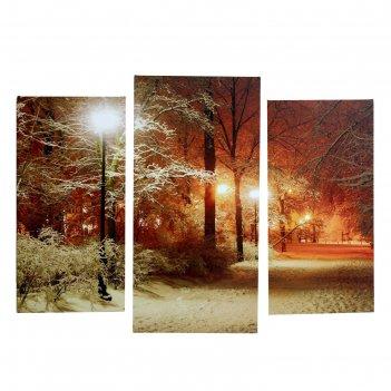 Модульная картина на холсте с подрамником зима