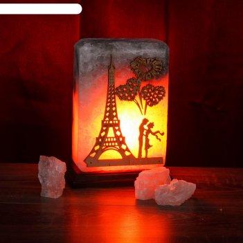 Светильник соляной электрический панно париж 3,3 кг, деревянный декор, цел