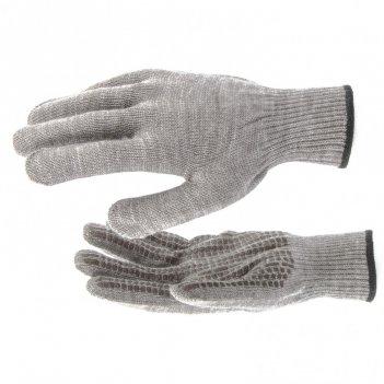 Перчатки трикотажные, акрил, пвх гель, протектор, коричневый, оверлок росс