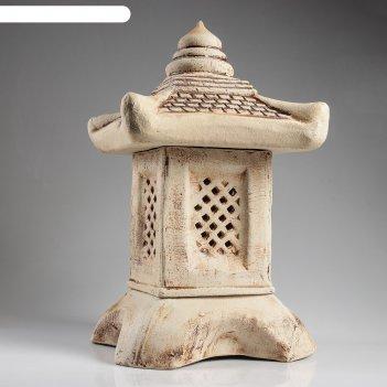 Садовый светильник китайский домик шамот