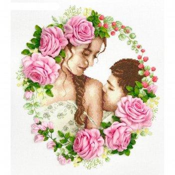 Набор для вышивки счетным крестом и лентами «нежный поцелуй»