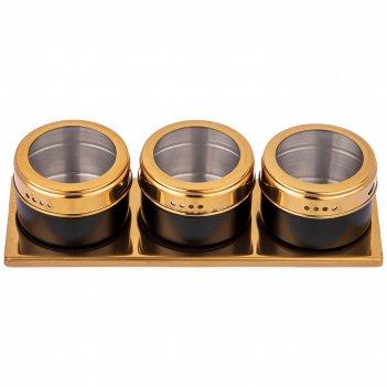 Набор для специй agness 4 пр.черное золото на магнитах+метал.подставка 20*