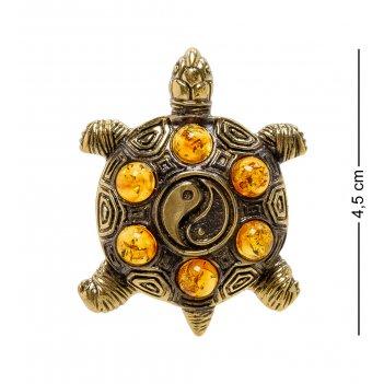 Am-2176 подвеска черепаха инь-янь (латунь, янтарь)