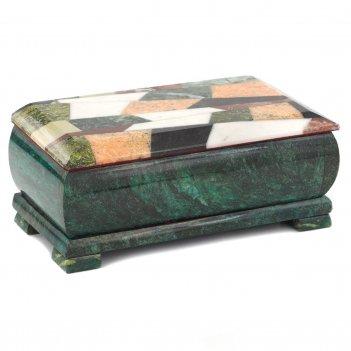 Шкатулка купюра с мозаикой змеевик 190х95х80 мм 1500 гр.