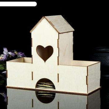 Заготовка для декупажа чайный домик сердечко с отделениями 27 х 11 х 22 см