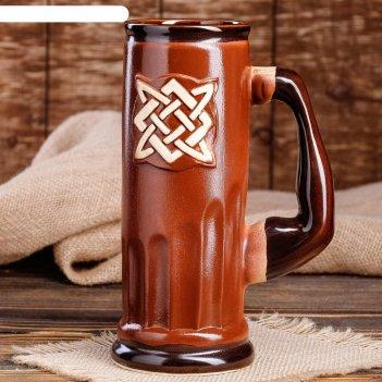 Пивной бокал славянский оберег сварог, цвет коричневый, 0.75 л