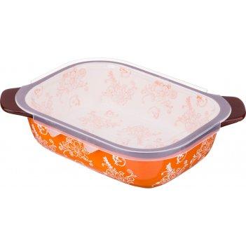 Блюдо для запекания с пластиковой крышкой 22*17 см. высота=7 см. (кор=12шт