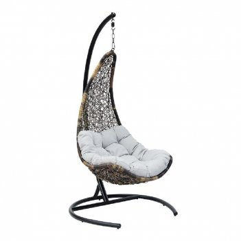Подвесное кресло wind coffee ми (195), каркас черный, подушка темно - беже