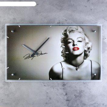 Часы настенные прямоугольные мэрилин монро, 35х60 см
