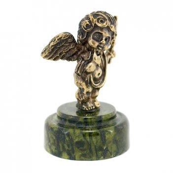 Статуэтка ангелок с крестом бронза змеевик
