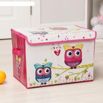 Короб для хранения 40x26x26 см весенние совушки, цвет розовый