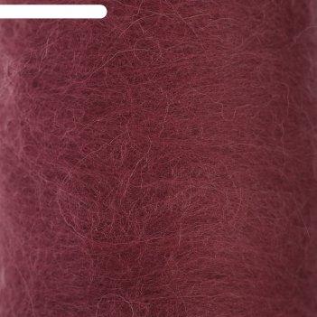 Шерсть для валяния кардочес 100% полутонкая шерсть 200гр (088 брусника)
