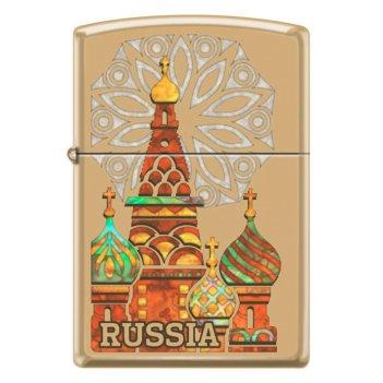 Зажигалка zippo россия с покрытием high polish brass, латунь/сталь, золоти