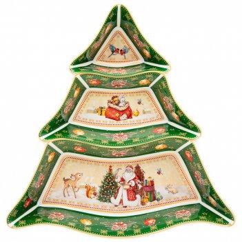 Менажница-елка lefard дед мороз 24х24х3 см зеленая