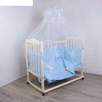 Комплект в кроватку (7 предметов) спать пора, цвет голубой