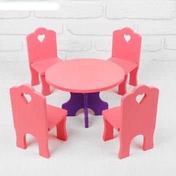 Мебель кукольная столик со стульчиками, 5 деталей