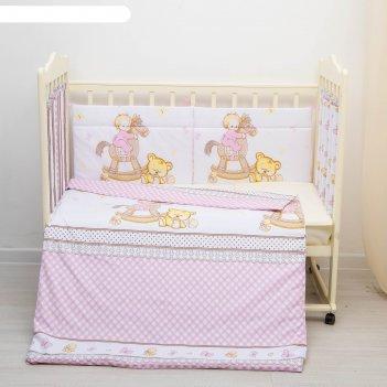 Комплект в кроватку 6 пр. моя лошадка, цвет розовый, бязь, хл100%