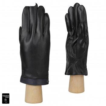 Перчатки мужские, натуральная кожа (размер 9.5) черный-синий, touchscreen